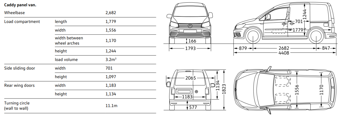 VW Caddy dimensions - short wheelbase